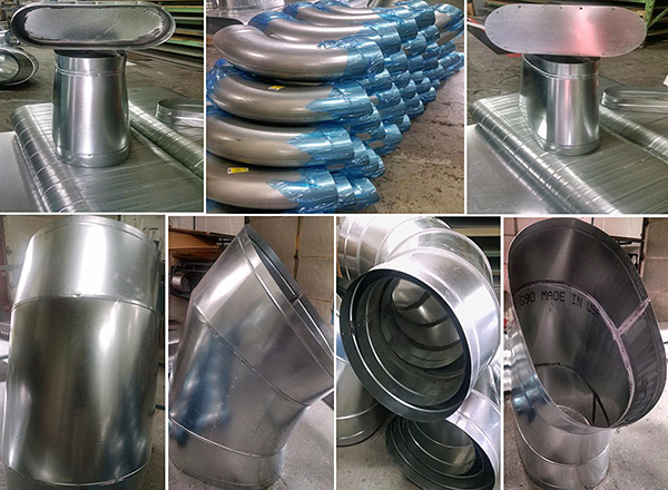 Spiral duct fittings oval dc