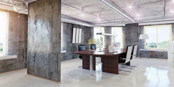 Industrial Chic Office with Exposed Spiral Duct